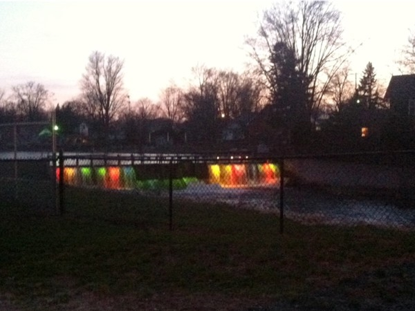 Palmer Lake Dam beautifully lit at night