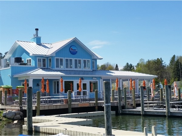 Drive up in a car or boat and enjoy lunch at The Landings in Charlevoix