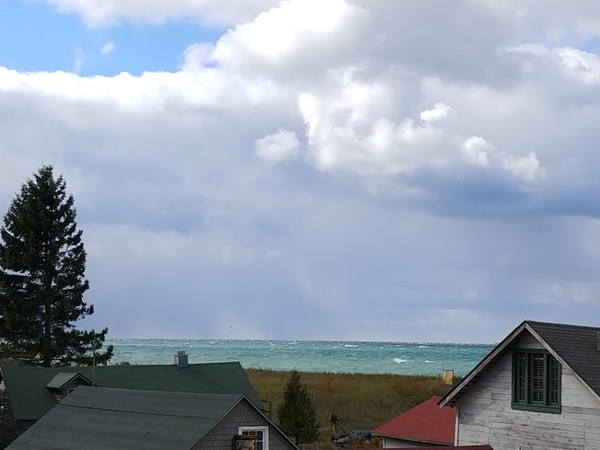 An autumn Lake Michigan view over Fishtown in Leland