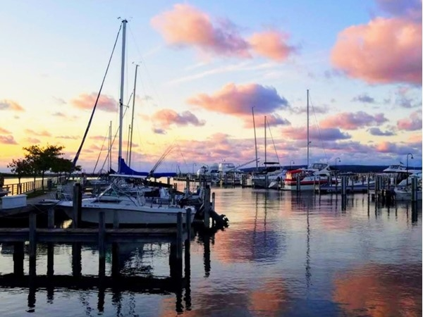 Dreamy clouds highlight Petoskey Marina during sunset