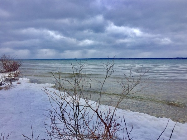 Don't let a little snow keep you off this beautiful beach along the Old Mission Point Park trails