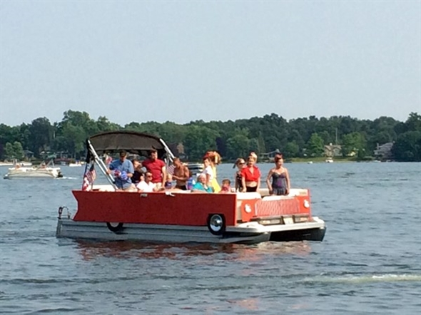 Classic car or boat? Great entry for the Goguac Lake Boat Parade