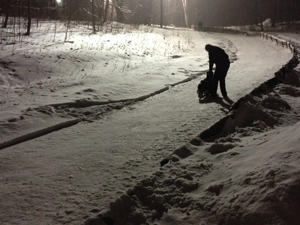 Beautiful snowy night at the Lucy Hill Luge.