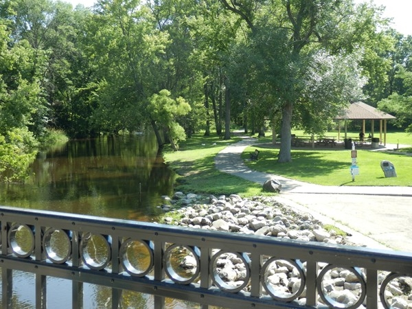 Riverside Park view from the Main Street Bridge. Perfect for a daily outing or family get togethers