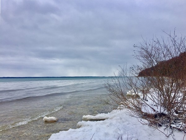 Looking south at East Grand Traverse Bay from Old Mission Point Park trails. Love winter hikes