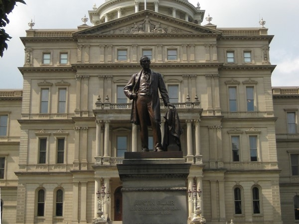 Austin Blair Statue in front of the Capital Building