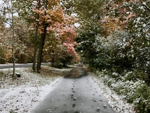 Fall colors meet winter white on Marquette's paved bike path