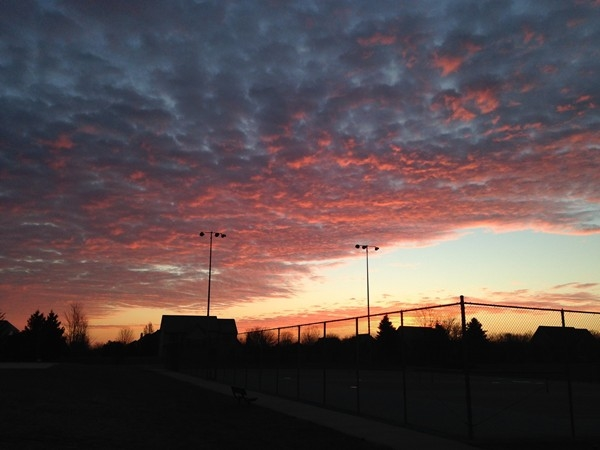Beautiful sunrise outside of the Saline Recreation Center