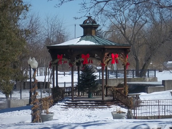 "This pretty park gazebo is a wonderful place for a wedding and ""Music in the Park"""