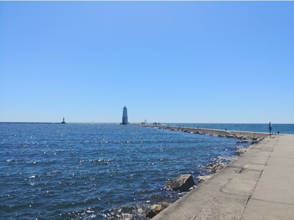 On a calm day the Frankfort breakwall is a nice walk
