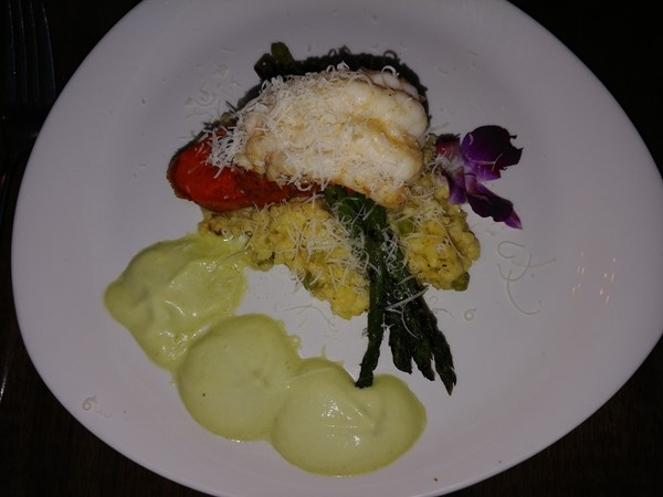 Sorellina's Butter Poached Lobster, Saffron & Pea Risotto and Asparagus Essence...delightful!
