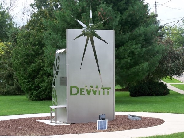 DeWitt's newest addition, a sculpture to welcome you to the downtown area