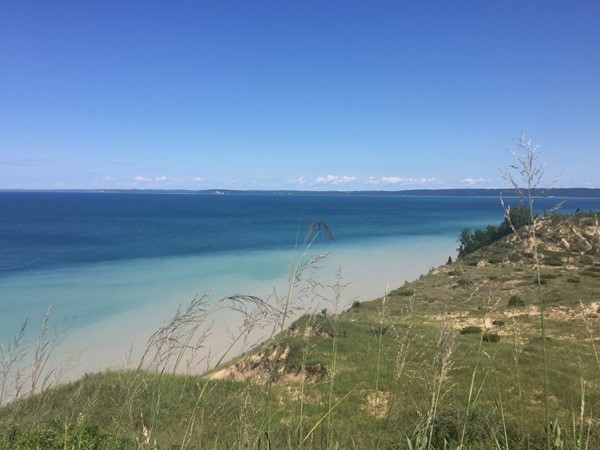 Love Lake Michigan and this view of Leland from Pyramid Point dunes