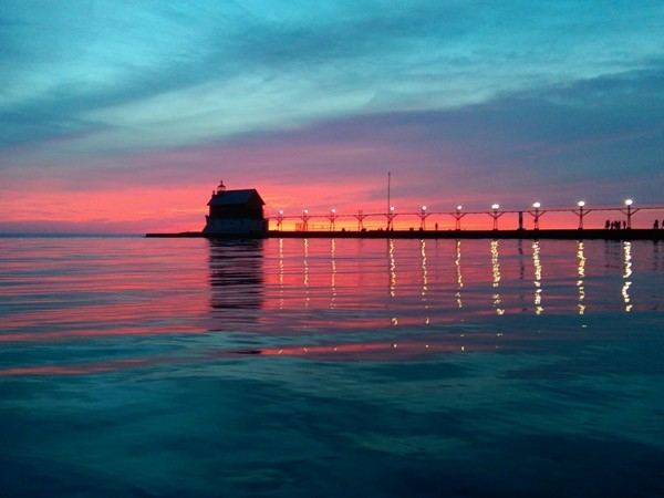 Lake Michigan unsalted.  Grand Haven is known for some of the best sunsets in Michigan!