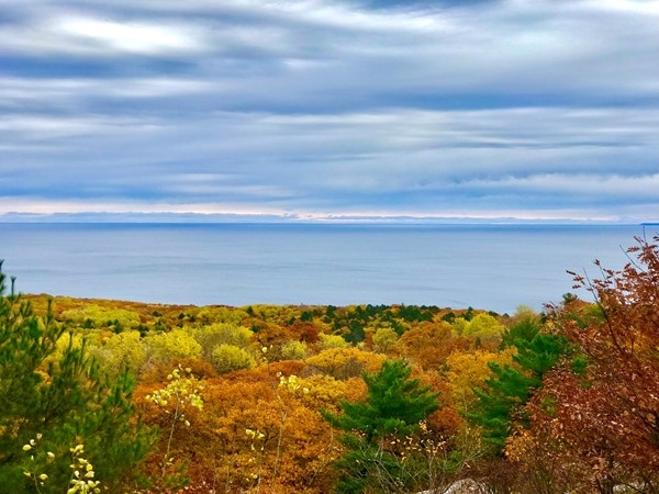 View from Mt. Marquette toward Lake Superior with fall colors showing