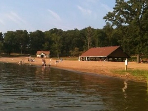 Clover Beach is a public beach on the private Byram Lake