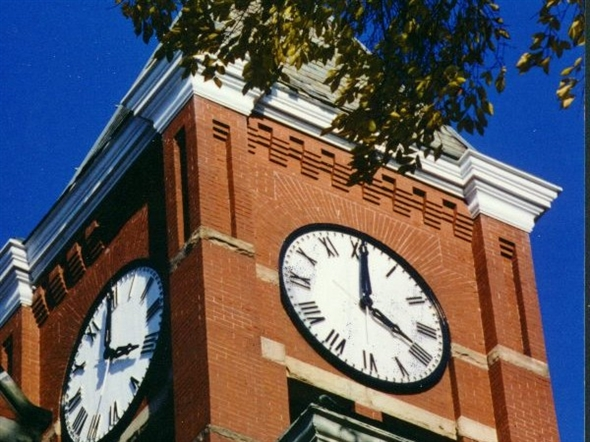 Howell's historical courthouse clock