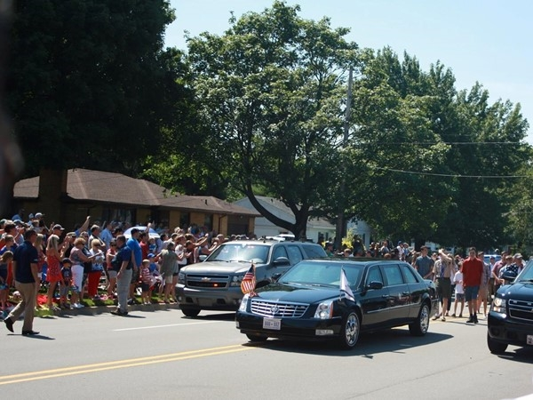 Here he comes...Vice President Mike Pence visits Kent County, Michigan for the July 4th Parade