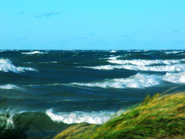 A rough day for boats, but a good day for wind surfers on Lake Michigan