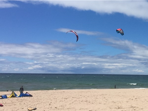 A blustery day perfect for kiteboarders at Frankfort beach