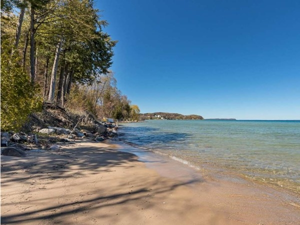 Shared sandy frontage at home in Old Mission Peninsula