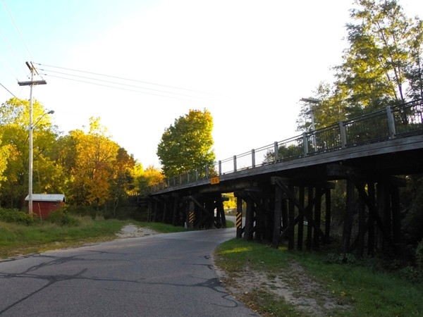Train trestle, now a bike path bridge, over Lake Street