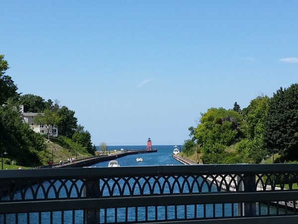 Photo taken on the Charlevoix Bridge. It opens up to let big boats through to Lake Michigan