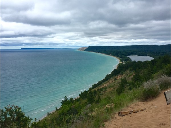 Don't let a few clouds keep you from heading out to Empire Bluffs Overlook, Sleeping Bear Dune