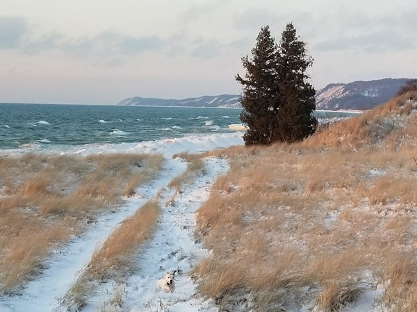 Last of winter at Lake Michigan with bluffs of Frankfort in the background