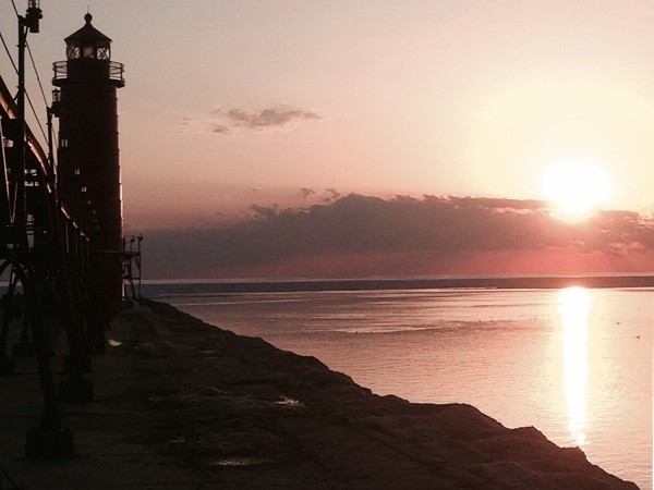 Beautiful early spring sunset at Grand Haven Pier