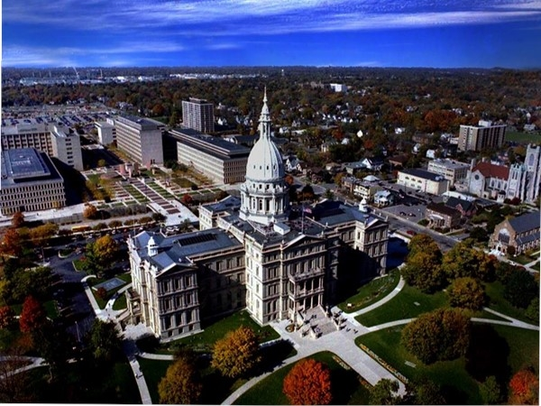 Downtown Lansing aerial photo