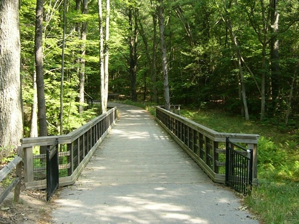 Wooden bridge on the bike path leading to the White Lake Community Library.