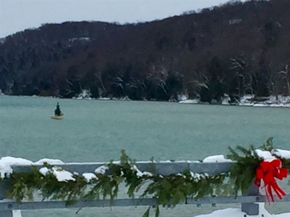 Yes, a floating Christmas Tree in Glen Lake...holiday spirit is everywhere