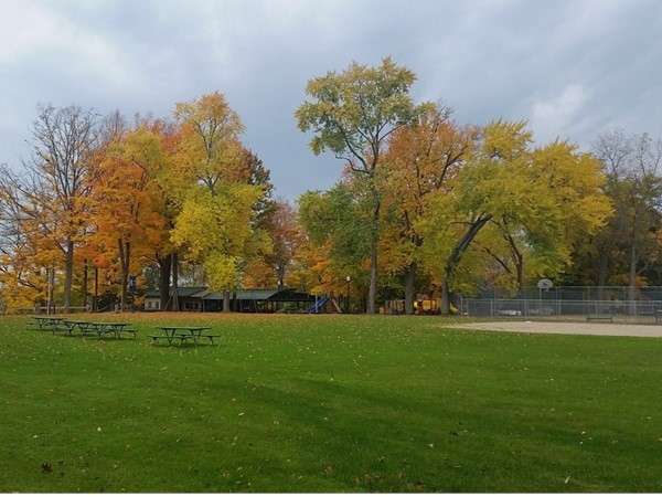 Lawrence Street Park has baseball fields, playground, tennis courts, and restrooms