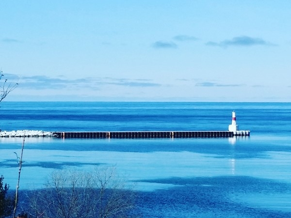 The Petoskey Breakwall overlooking beautiful Lake Michigan