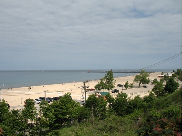 View of Lake Michigan beach from historic Highland Park