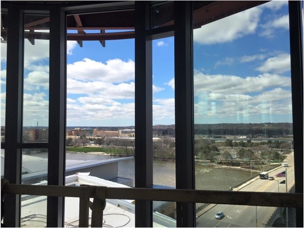 "The view from the top floor of the new ""The Rowe"" apartments/condos in Downtown Grand Rapids!"