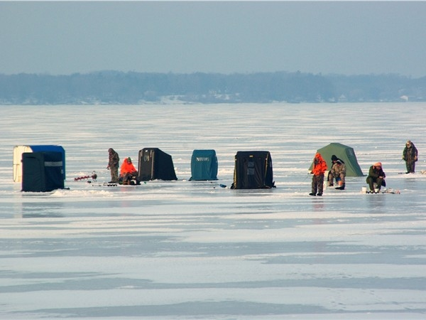Community on ice!  Ice fishing is a popular activity on White Lake.