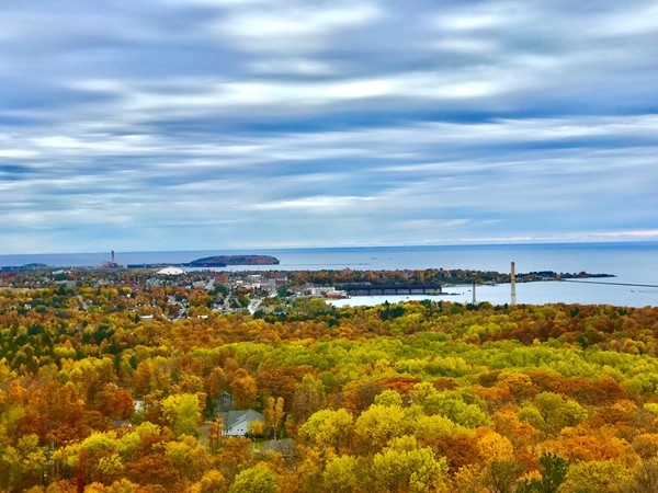 Beautiful view of downtown Marquette on a October fall day