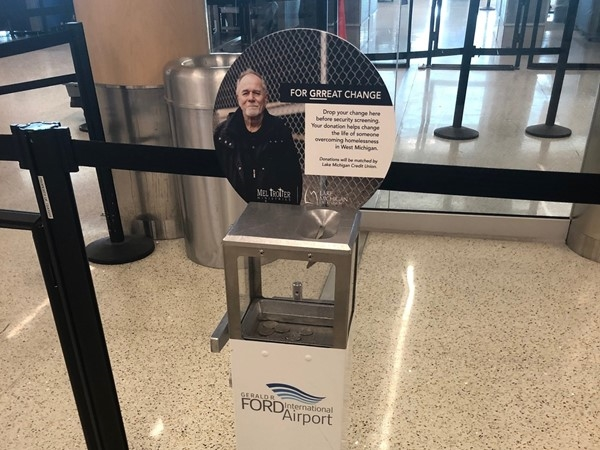 So proud that the Gerald R Ford Intn'l Airport has a spot for change to donate to the homeless