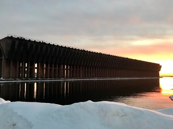 January morning at Marquette's Ore Dock on the shores of Lake Superior