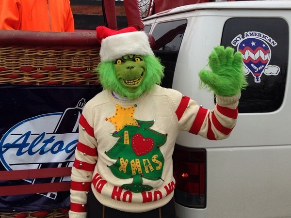 The Grinch is trying to hold up the Caledonia Christmas Parade