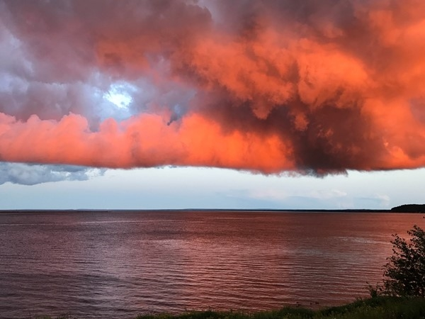 An August storm meets the sunset over Lake Superior